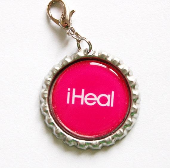 Nurse, iHeal Zipper Pull, Zipper Pull, Purse Charm, Nursing, Gift for nurse, iHeal, Charm, Pink, Nurses week (1086)