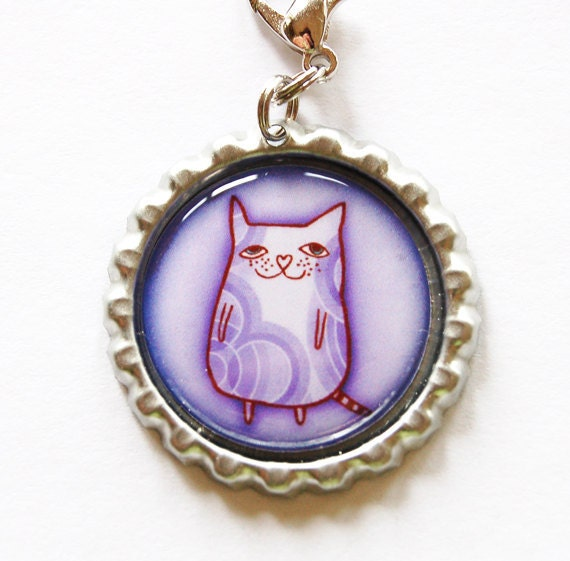 Cat zipper pull, cat lover, zipper pull, purse charm, bag charm, cats, purple, bottlecap charm (1205)