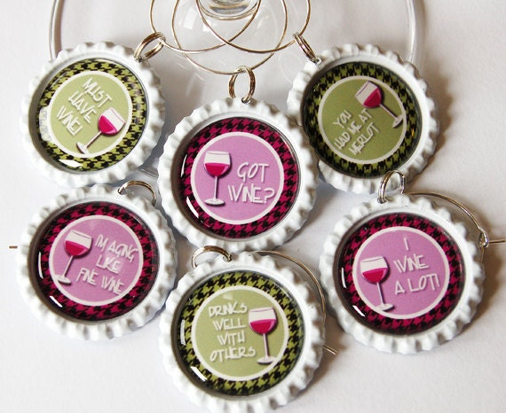 Wine Glass Charms, Wine Charms, Wine, Grapes, Gift for wine lover, Wine Tasting Party, Barware, entertaining