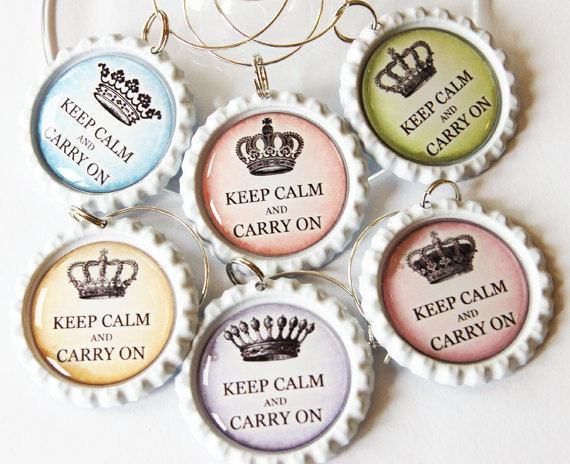 Keep Calm Carry On, Wine Glass Charms, Wine Charms, Bottlecap wine charm, pastel colors