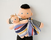 Babywearing Daddy Doll with a Baby Doll - knitted play dolls - eco-friendly, waldorf, babywearing, attachment parenting