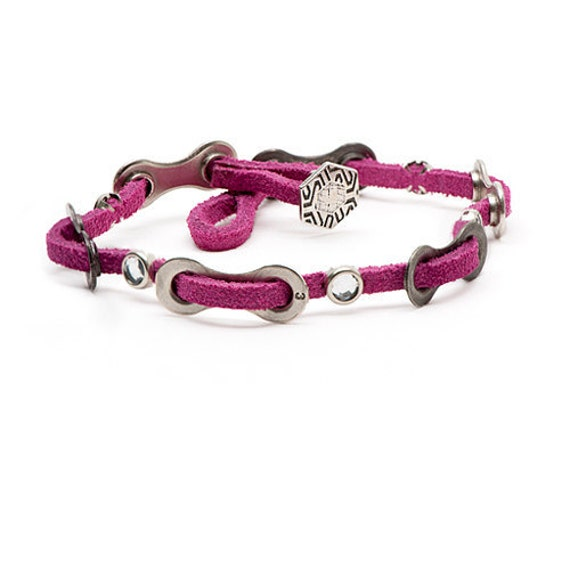 Cyclist Bling Bike Bracelet - Pink Leather