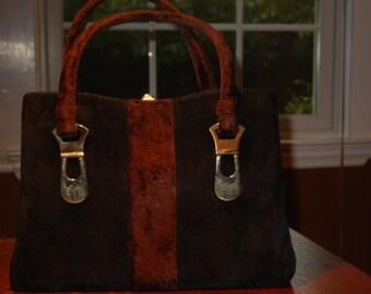 Vintage Crown Lewis Brown and Black Chenille Bag