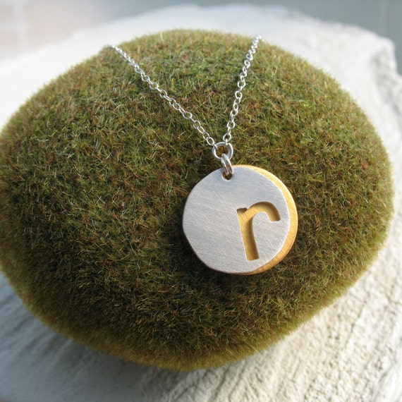 personalized jewelry gift - initial necklace - gift for mom - monogram jewelry - silhouette letter - mother's day - mother necklace