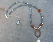 Artisan, Handcrafted, Kyanite, Sterling Silver, Copper and Freshwater Pearl Necklace