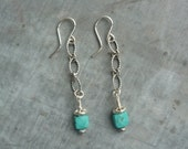 Handcrafted, Artisan, Faceted Square Turquoise and Sterling Silver Chain Earrings