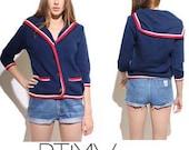 Vintage 60s I MAGNIN knit FRENCH sailor CLASSIC cardigan coat jacket cape cardi