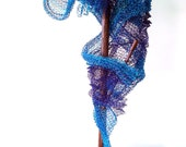Crocheted Wire Sculpture Interactive 7th Song of Siren Blu Scarf Shawl Artwear Play with Your Art Abstract Modern Fusion Mixed Media
