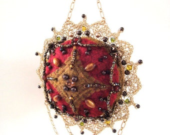Crocheted Wire Lace Hand Stitched Felt Ornament Inspired by Penny Rugs Renaissance Gothic Semi Precious Stones Swarovski Pearls n Crystals