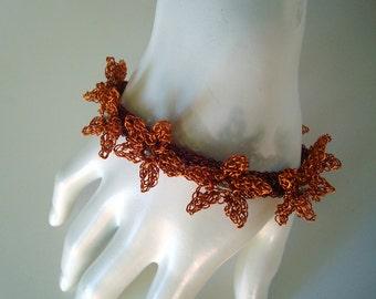 Crochet Wire Bracelet bangle with Flowers