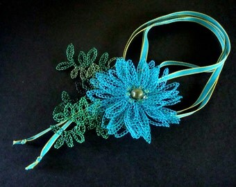 Crocheted Wire Lace Necklace 3D Blu Flower with Shaded Leaves of Green Jade Center Swarovski Crystals Fancy Floral Fantasy Garden Delight