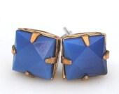 Vintage Jewel Midnight Blue Square Glass Post Earrings