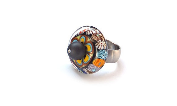 Quirky Hippie Lampwork Glass Changeable Ring Set
