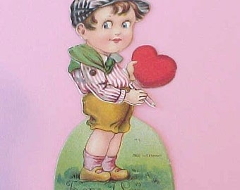 Dearest Art Deco Era German Valentine Card-Little Boy Holding Heart