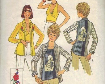 Simplicity 7447 sewing pattern // halter, shirt, top
