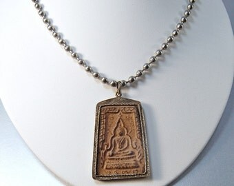 Buddha Necklace. Rustic Antique Look . Unisex Jewelry