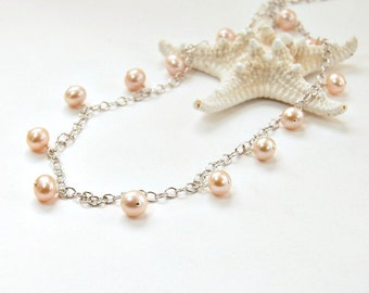 Pearl Necklace. Spring Fashion. Pastel Pink