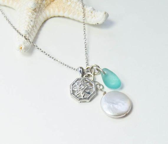 Diamond Charm Necklace   Sea Glass and Pearl    Beach Wedding