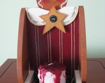 Gingerbread Candle Tray, Gingerbread girl, girl, gingerbread, candle, Handpainted, Rosehips, Candle, shelf sitter