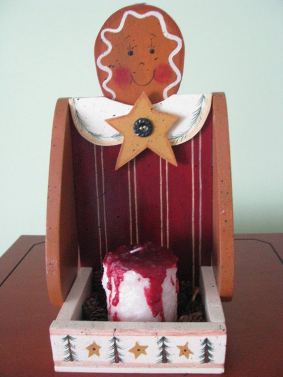 Sale, Gingerbread, Candle Tray, Gingerbread girl, girl, candle, Handpainted, Rosehips, Candle