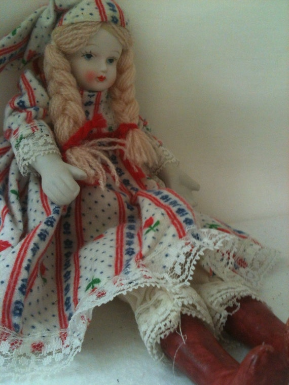 """CHRISTMAS SALE  10"""" Vintage Doll Porcelain Soft Body Pantaloons Night cap Flannel Nightgown Boots"""