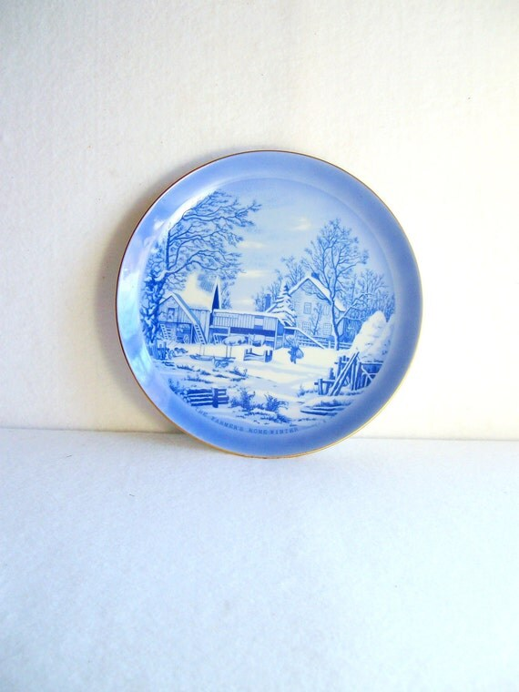 CHRISTMAS SALE  Currier & Ives  Blue  The Farmer's Home  Winter  Plate