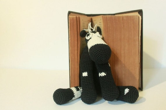 Crochet Stuffed Cow In Black And White, Baby Toy, Newborn Baby Shower Gift