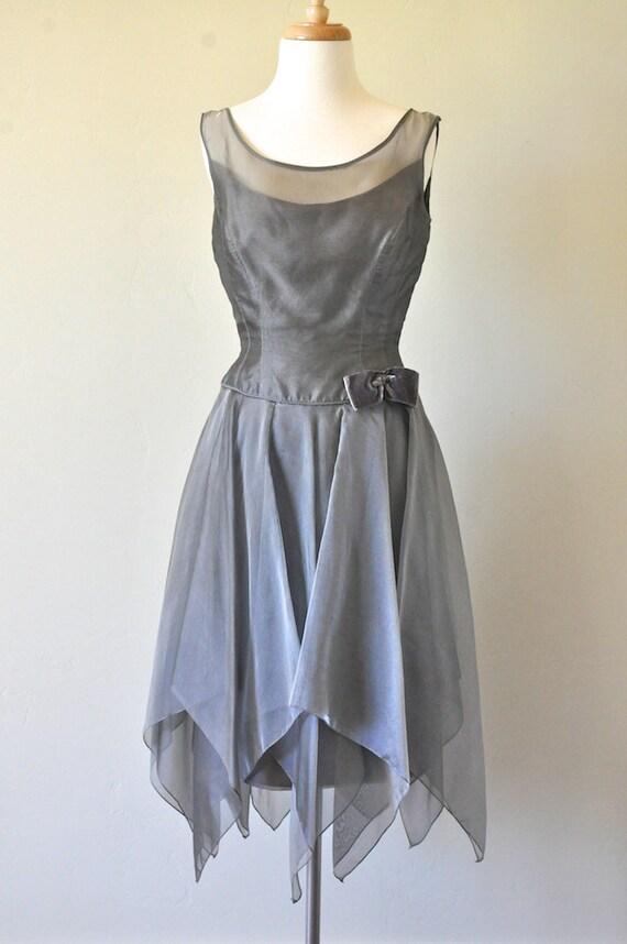 Vintage Green Grey Pixie Cocktail Dress