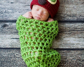 The Very Hungry Caterpillar Cocoon and Hat Newborn Photo Prop Costume