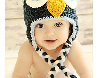 Crochet Baby Owl Hat for Newborn Boys / Baby Owl Hat / Newborn Owl Hats / Blue Owl Hat / Crochet Owl Hat / Baby Shower Gift / Newborn Photos
