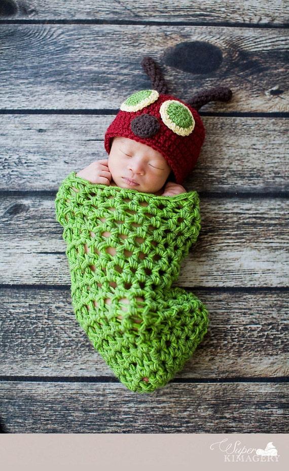 Caterpillar Cocoon And Hat Newborn Photo Prop Costume