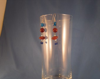 Reduced Long dangling brown and blue glass bead pierced earrings (P11)