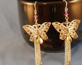 Vintage long butterfly silver and purple rhinestone pierced earrings (P7)