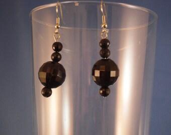 Reduced Vintage black rhinestone drop beaded pierced earrings (P4)