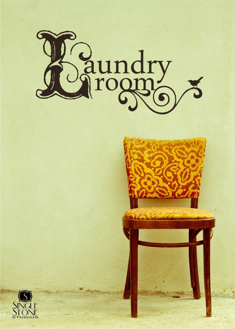 Laundry Room Wall Decor Stickers : Laundry room wall decal vintage style vinyl text words