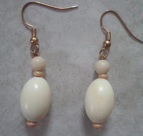 Multi Bead Mix Tear Drop Earrings--Cream Color--Free Shipping in U.S.