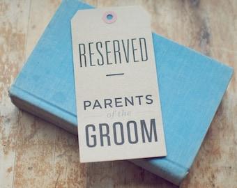 5 Kraft Reserved Seating Signs for Rustic Weddings (Custom)