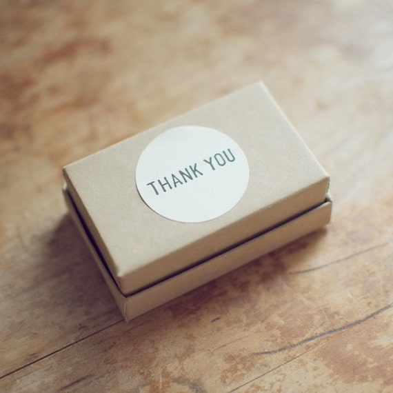 48 Thank You Hand-Stamped White Circle Stickers
