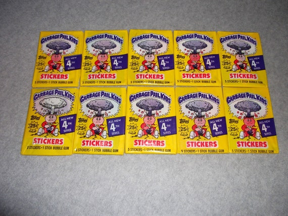 Vintage 1980s 80s Topps Garbage Pail Kids (10) Factory Sealed Packs Series 4 4th GPK Stickers