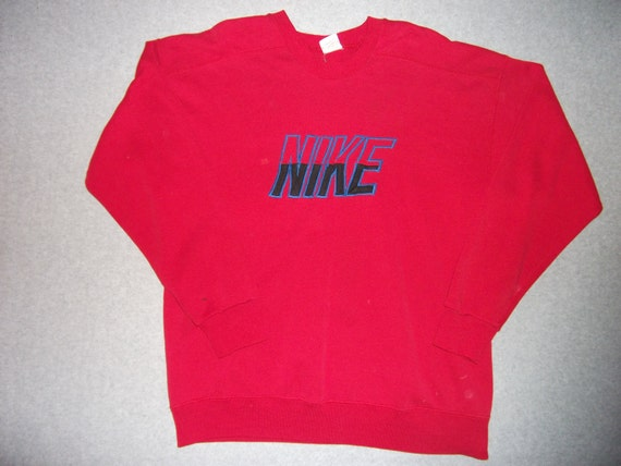 Vintage 80s 90s Red Nike Sweatshirt Long Sleeve 1980s 1990s Hipster Well Worn Retro Made in USA L Large