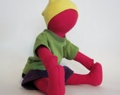 SALE Bright red Eco-friendly hemp doll with organic and up-cycled knit outfit