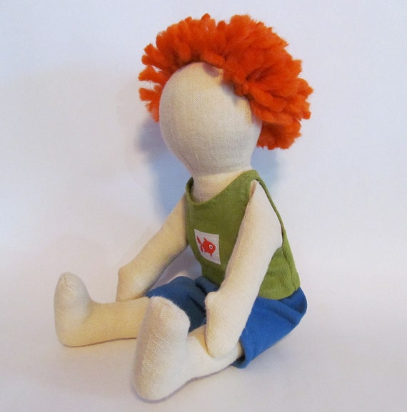 "SALE 11"" Eco-Friendly soft doll with short orange hair"