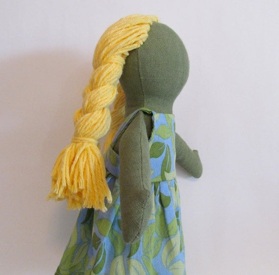 "SALE 11"" Eco-friendly green hemp linen doll with blond cotton hair"