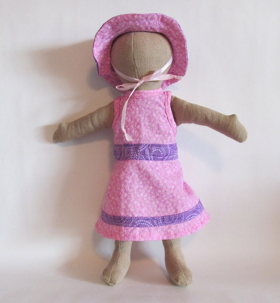 """SALE Pink and purple sundress and sun hat for 11"""" doll"""