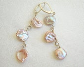 Pearl Chandelier Earrings: Pastel Pearls, Peach Pearls, Pink Pearls, Orchid Pearls, Sterling Silver
