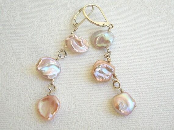 Pearl Chandelier Earrings: Pastel Pearls, Peach Pearls, Pink Pearls, Orchid Pearls, Sterling Silver