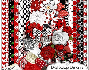 Sale: Lady Bug Red and Black Digital Scrapbooking Kit- Bettina Flowers, Chevron, Lady Bug Clip Art, Instant Download