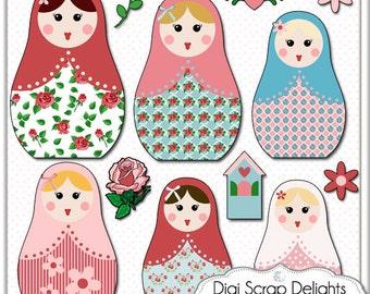 2 Dollar Sale Matryoshka Clip Art - Vintage Rose Russian Nesting Dolls in Cath Kidston for Digital Scrapbooking, Card Making,