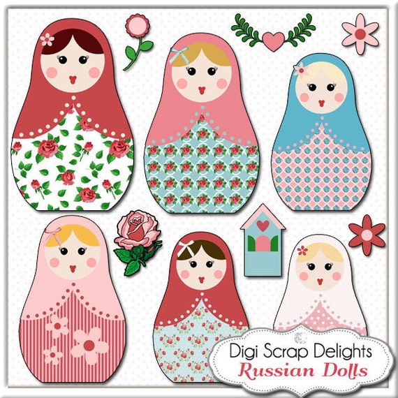 Matryoshka Clip Art - Vintage Rose Russian Nesting Dolls in Cath Kidston for Digital Scrapbooking, Card Making, Instant Download
