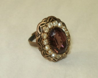 Vintage Brass Toned Ring with Large Purple Stone Fancy Adjustable Band